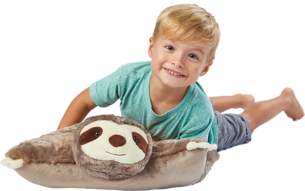 boy with sloth pillow