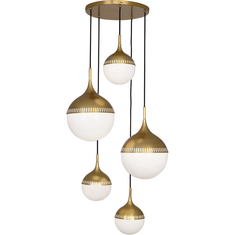 Robert Abbey Jonathan Adler Rio Chandelier in Antique Brass 791