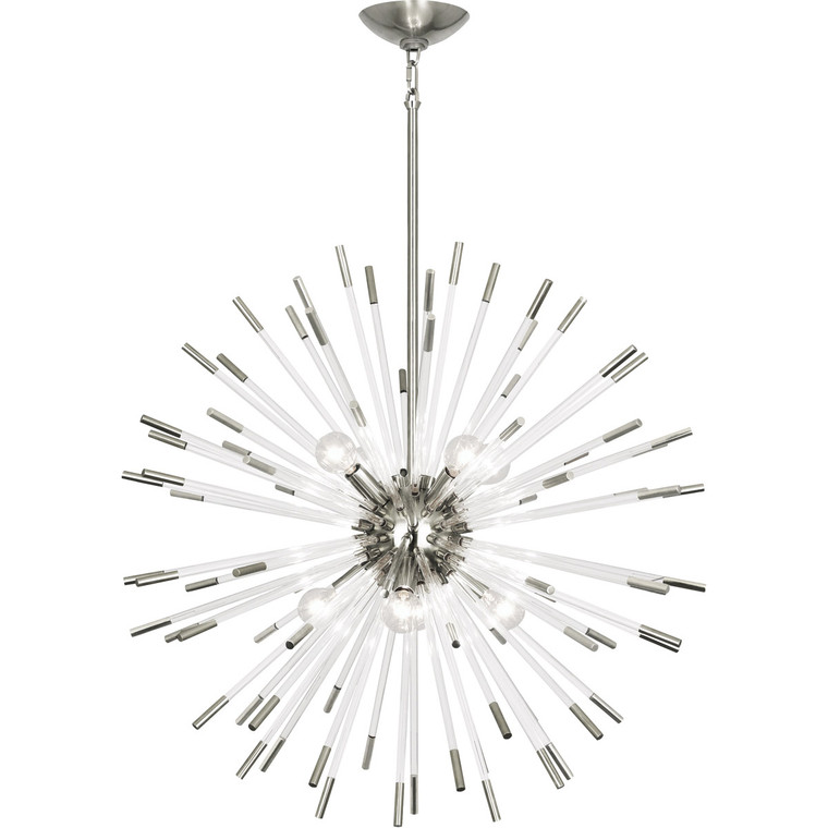 Robert Abbey Andromeda Chandelier in Polished Nickel with Clear Acrylic Rods S166