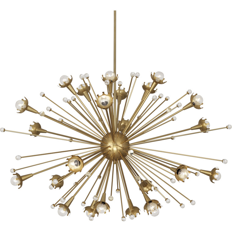 Robert Abbey Jonathan Adler Sputnik Chandelier in Antique Brass with Crystal Accents 714