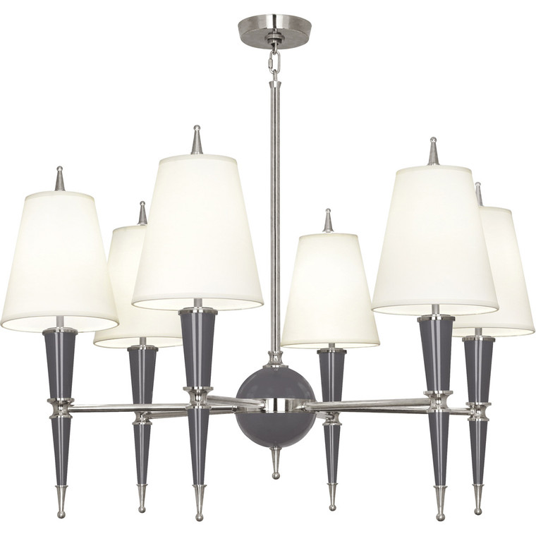 Robert Abbey Jonathan Adler Versailles Chandelier in Ash Lacquered Paint with Polished Nickel Accents A604X