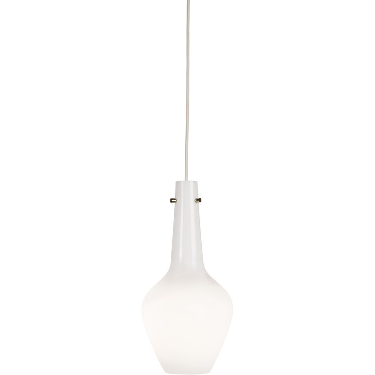 Robert Abbey Jonathan Adler Capri Pendant in White Cased Glass with Polished Nickel Accents WH734