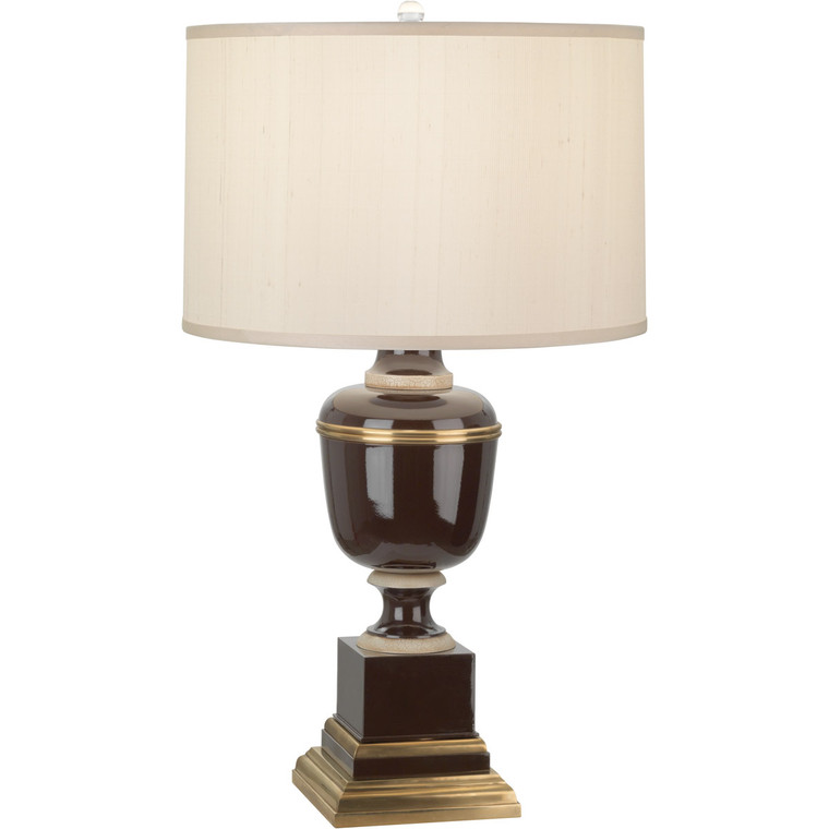 Robert Abbey Annika Table Lamp in Chocolate Lacquered Paint and Natural Brass with Ivory Crackle Accents 2502X