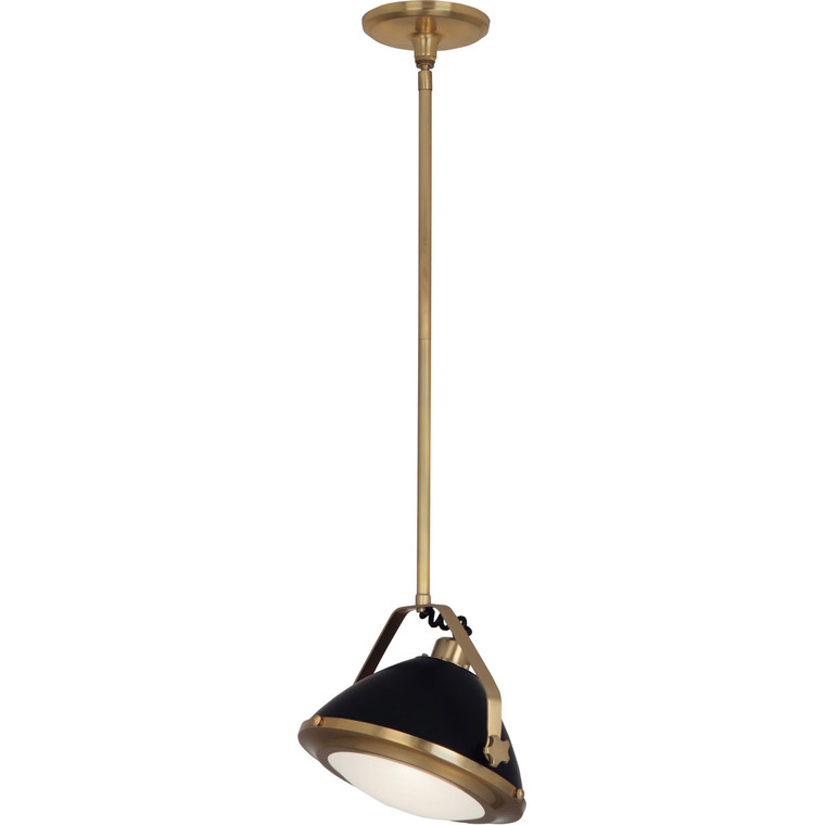 Robert Abbey Apollo Pendant in Antique Brass Finish with Matte Black Painted Accents 1582