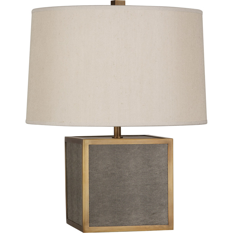 Robert Abbey Anna Accent Lamp in Faux Brown Snakeskin Wrapped Base w/ Aged Brass Accents 897