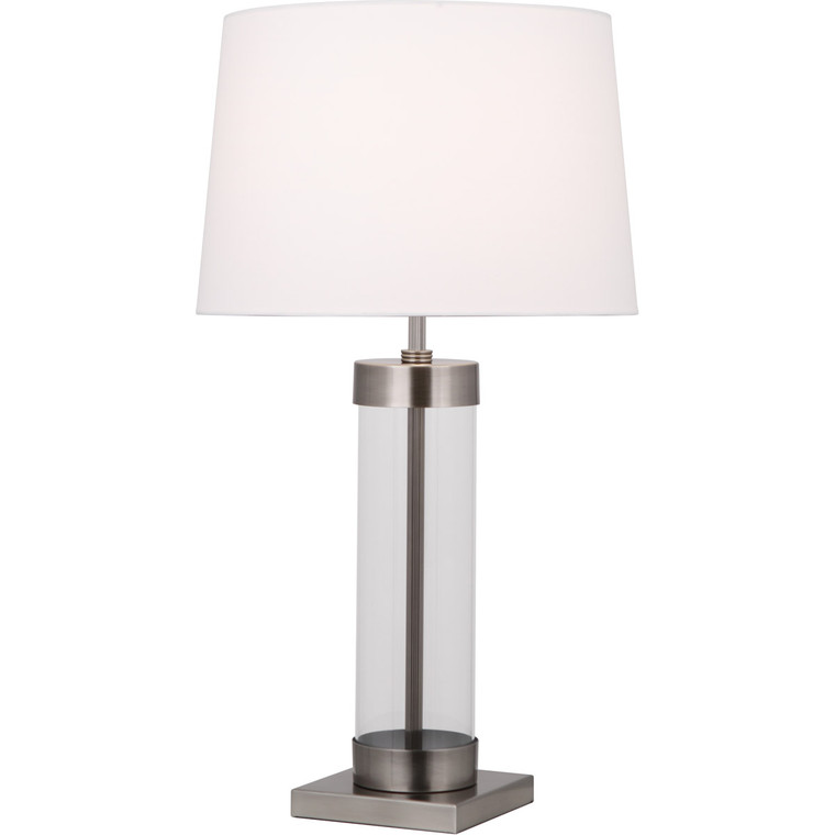 Robert Abbey Andre Table Lamp in Clear Glass Cylinder with Dark Antique Nickel Accents D3318