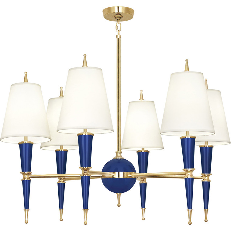 Robert Abbey Jonathan Adler Versailles Chandelier in Navy Lacquered Paint with Modern Brass Accents C904X