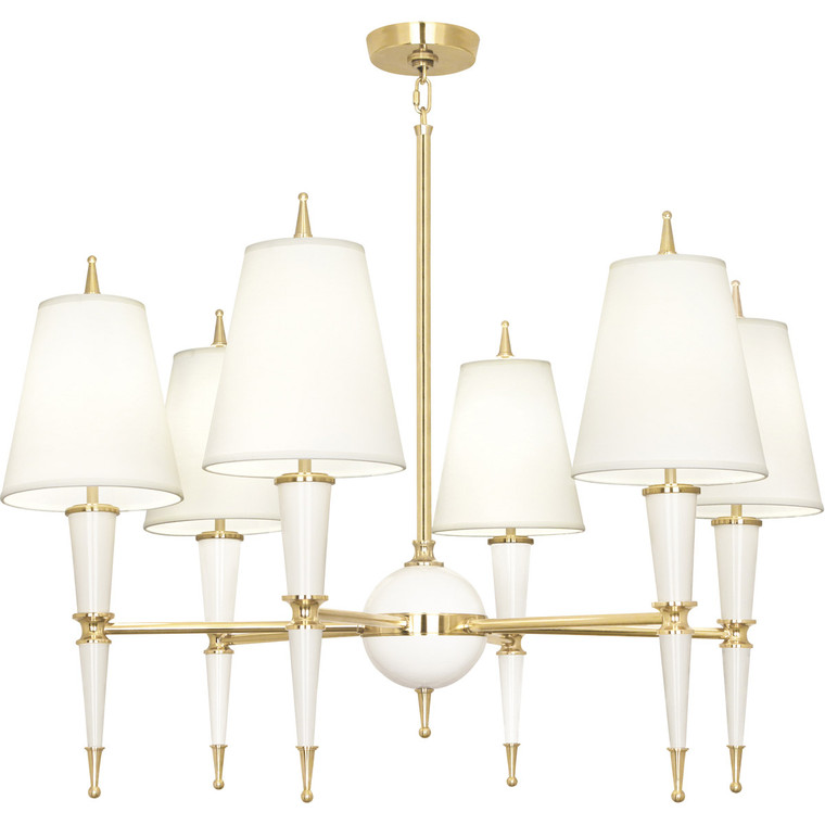 Robert Abbey Jonathan Adler Versailles Chandelier in Lily Lacquered Paint with Modern Brass Accents W904X