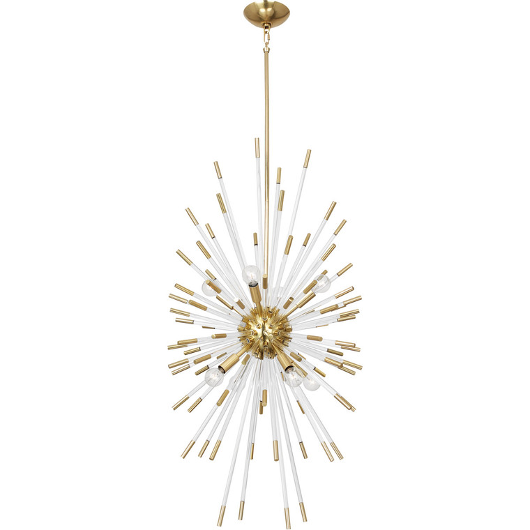 Robert Abbey Andromeda Chandelier in Modern Brass Finish w/ Lucite Accents 1206