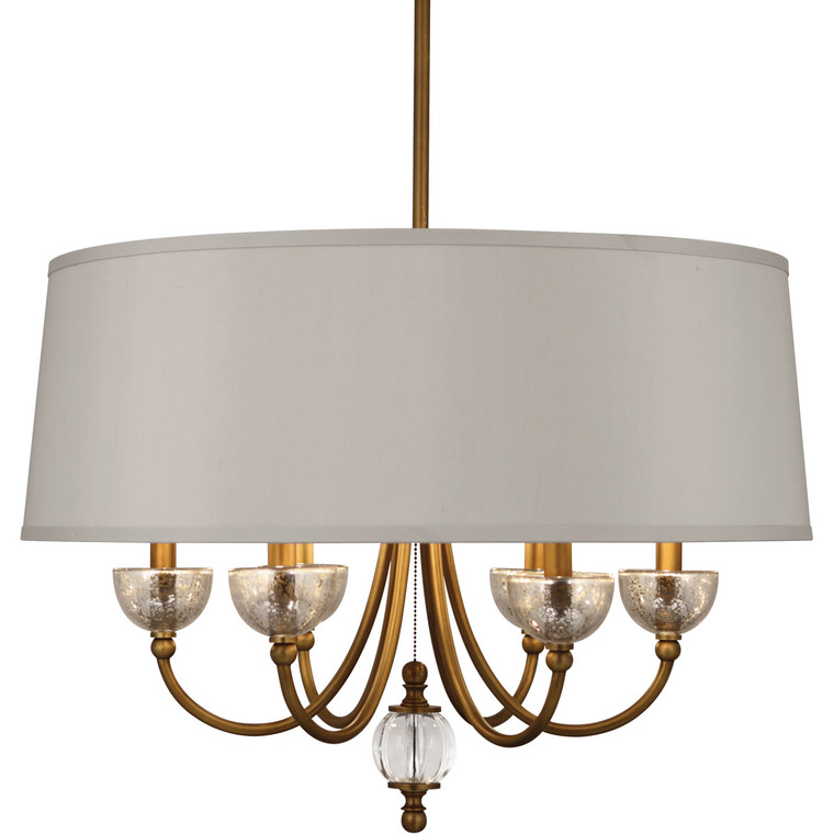 Robert Abbey Gossamer Chandelier in Weathered Brass Finish with Distressed Mercury Glass and Lead Crystal Accents 3367