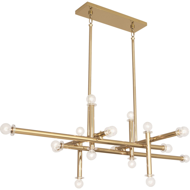 Robert Abbey Jonathan Adler Milano Chandelier in Polished Brass Finish with Lucite Accents 803