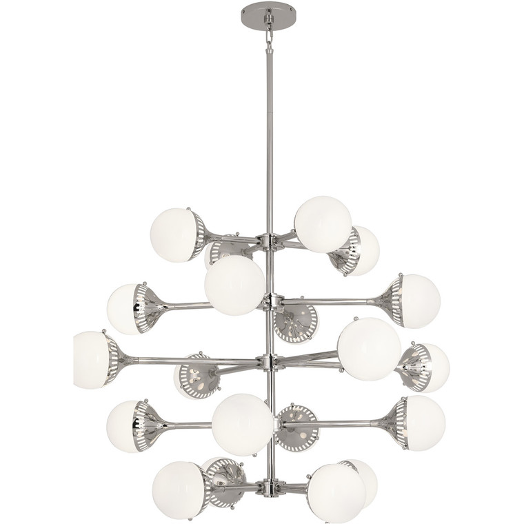Robert Abbey Jonathan Adler Rio Chandelier in Polished Nickel Finish with White Glass Shades S789