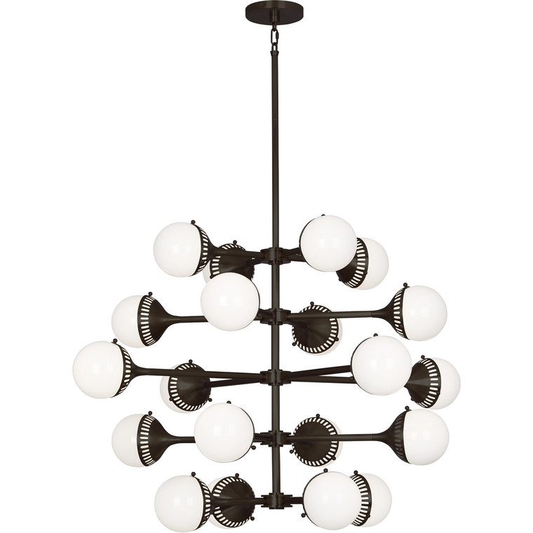 Robert Abbey Jonathan Adler Rio Chandelier in Deep Patina Bronze Finish with White Glass Shades Z789