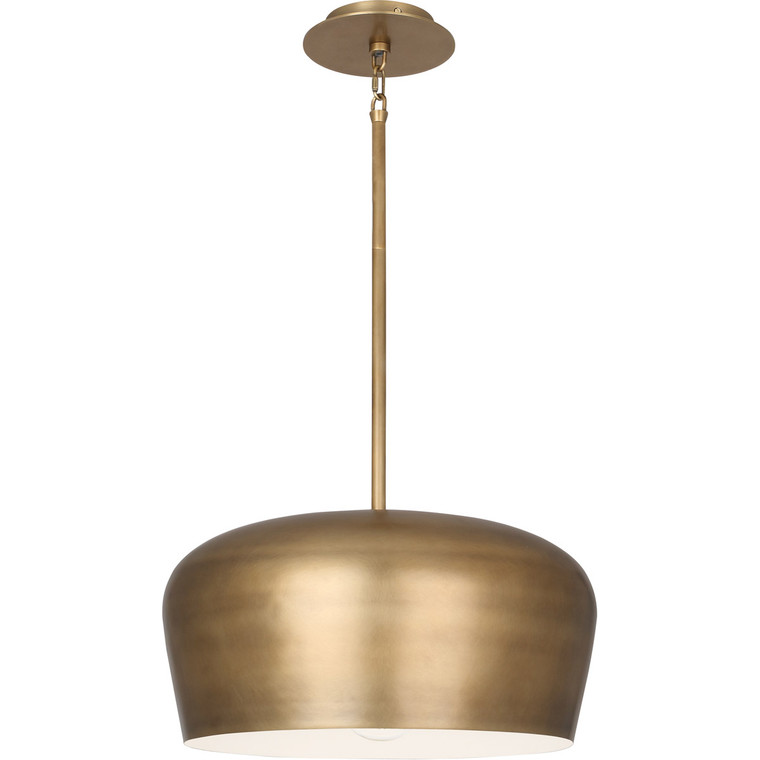 Robert Abbey Rico Espinet Bumper Pendant in Warm Brass Finish with Painted White Shade Interior 610