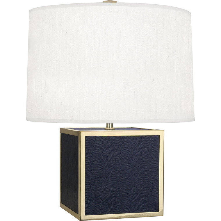 Robert Abbey Anna Accent Lamp in Faux Navy Snakeskin Wrapped Base with Polished Brass Accents N897