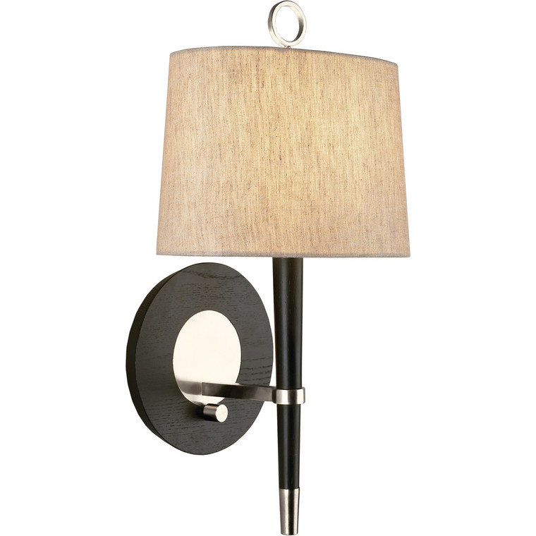 Robert Abbey Jonathan Adler Ventana Wall Sconce in Ebony Finished Wood with Polished Nickel Finished Accents PN672