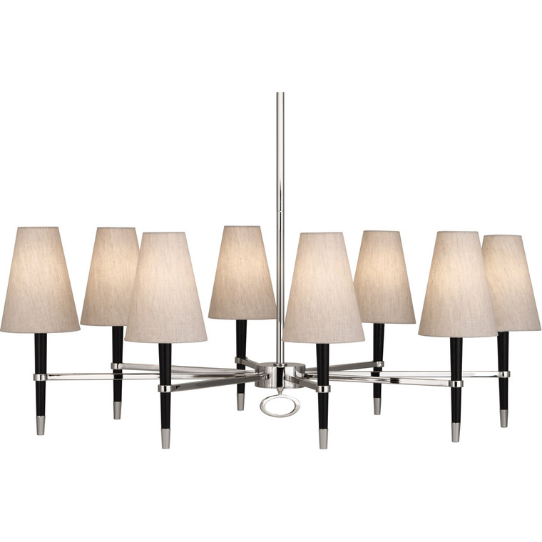 Robert Abbey Jonathan Adler Ventana Chandelier in Ebony Finished Wood with Polished Nickel Finished Accents PN718