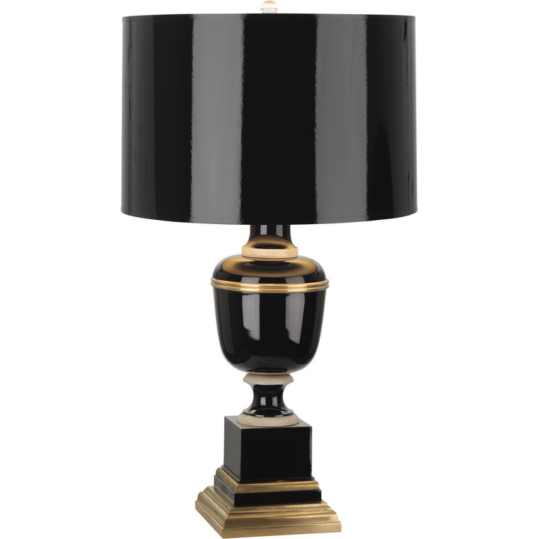 Robert Abbey Annika Accent Lamp in Black Lacquered Paint with Natural Brass and Ivory Crackle Accents 2507