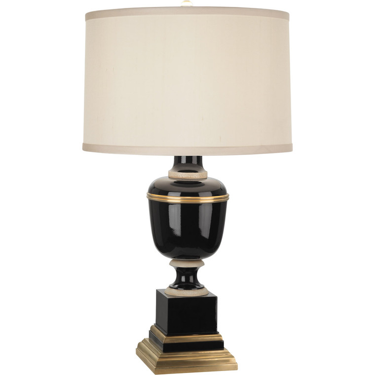 Robert Abbey Annika Accent Lamp in Black Lacquered Paint with Natural Brass and Ivory Crackle Accents 2507X