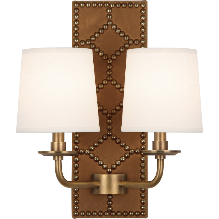 Robert Abbey Williamsburg Lightfoot Wall Sconce in Backplate Upholstered in English Ochre Leather with Nailhead Detail and Aged Brass Accents 1030
