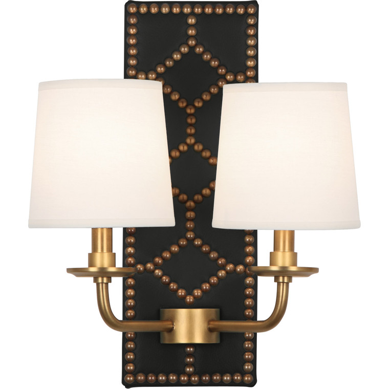 Robert Abbey Williamsburg Lightfoot Wall Sconce in Backplate Upholstered in Blacksmith Black Leather with Nailhead Detail and Aged Brass Accents 1035