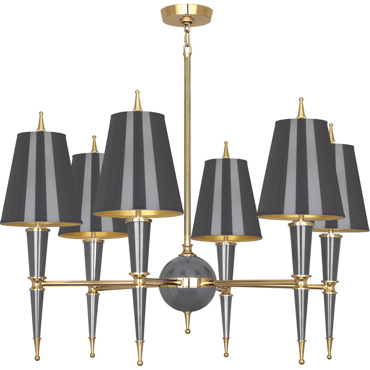 Robert Abbey Jonathan Adler Versailles Chandelier in Ash Lacquered Paint with Modern Brass Accents A904