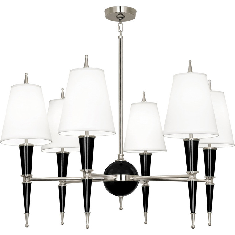 Robert Abbey Jonathan Adler Versailles Chandelier in Black Lacquered Paint with Polished Nickel Accents B604X