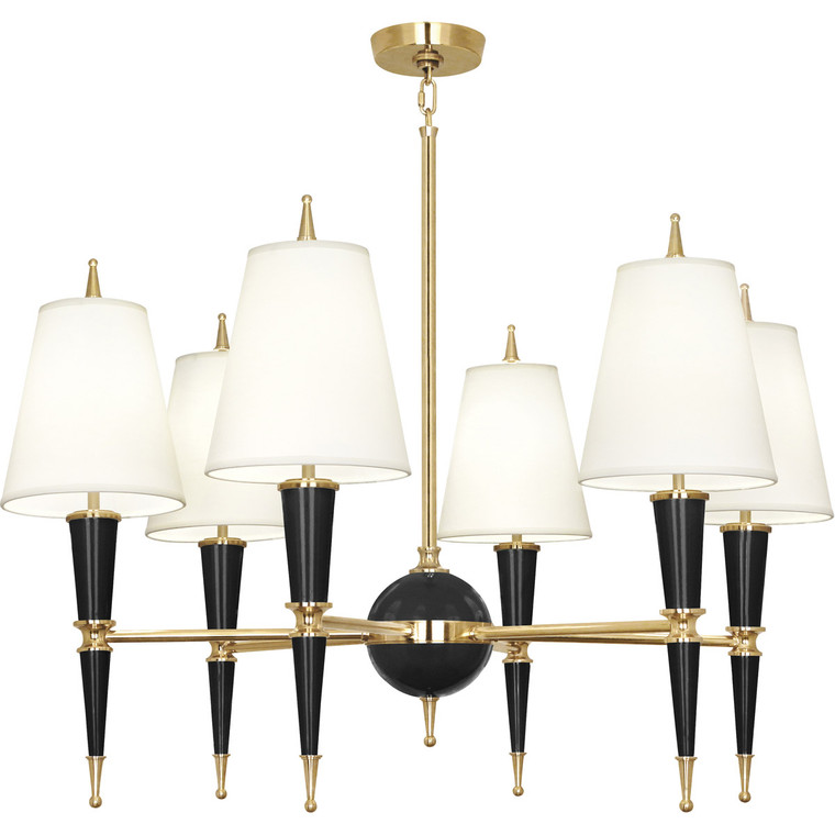 Robert Abbey Jonathan Adler Versailles Chandelier in Black Lacquered Paint with Modern Brass Accents B904X