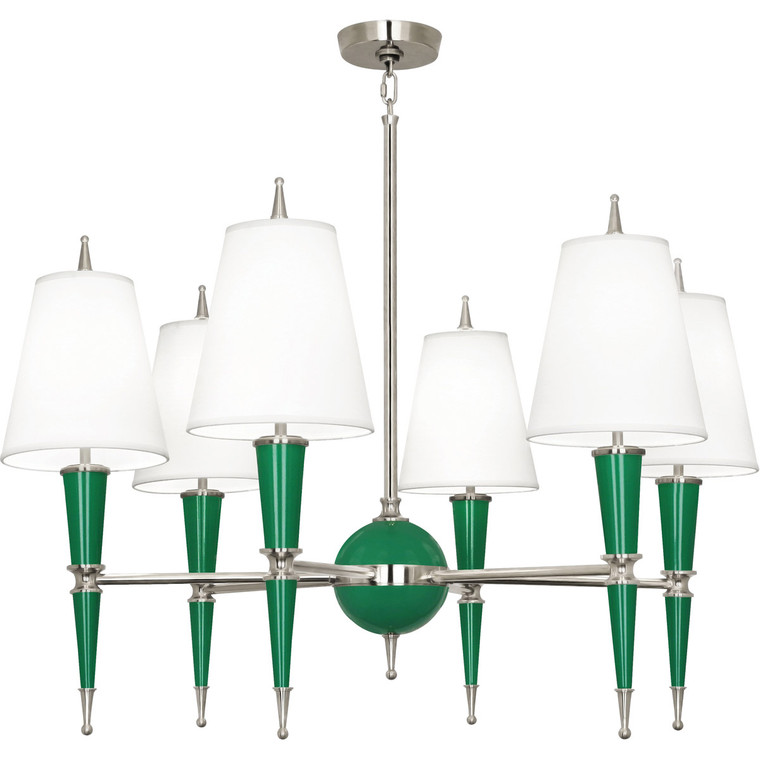 Robert Abbey Jonathan Adler Versailles Chandelier in Emerald Lacquered Paint with Polished Nickel Accents G604X