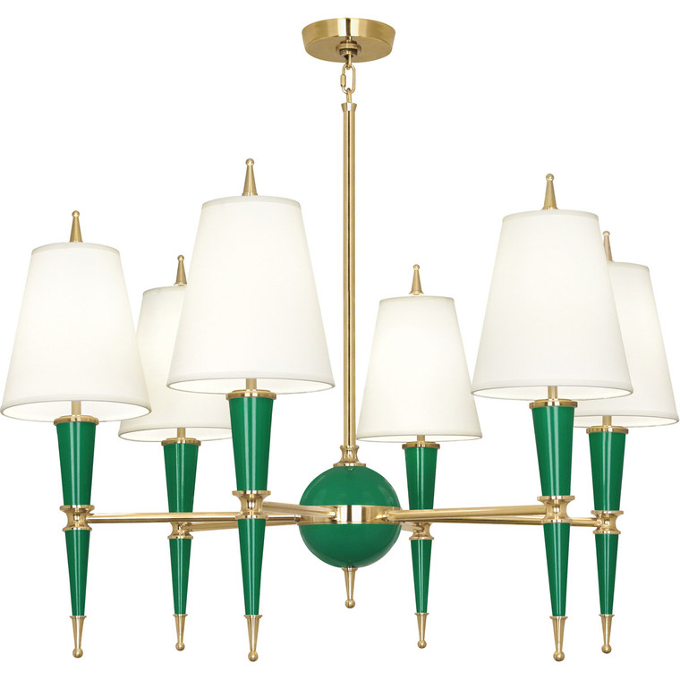 Robert Abbey Jonathan Adler Versailles Chandelier in Emerald Lacquered Paint with Modern Brass Accents G904X