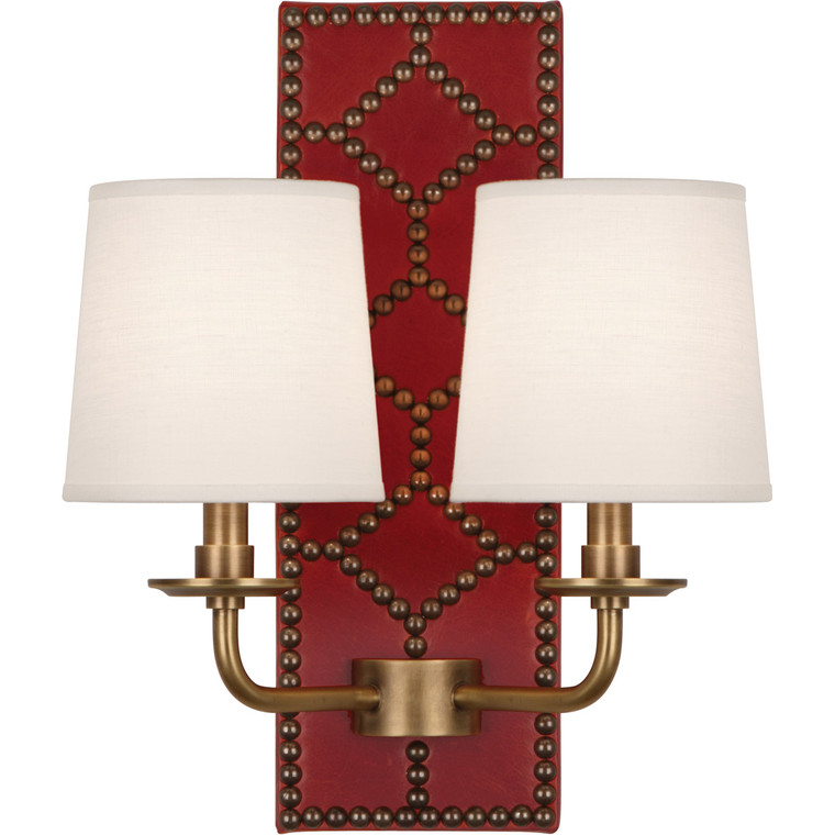 Robert Abbey Williamsburg Lightfoot Wall Sconce in Backplate Upholstered in Dragons Blood Leather with Nailhead Detail and Aged Brass Accents 1031