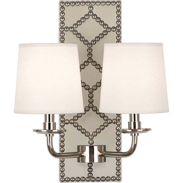 Robert Abbey Williamsburg Lightfoot Wall Sconce in Backplate Upholstered in Bruton White Leather with Nailhead Detail and Polished Nickel Accents S1032