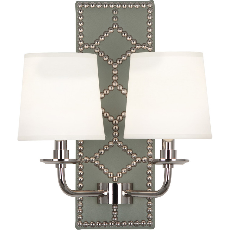Robert Abbey Williamsburg Lightfoot Wall Sconce in Backplate Upholstered in Carter Gray Leather with Nailhead Detail and Polished Nickel Accents S1034