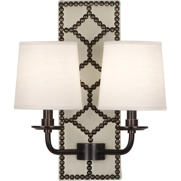 Robert Abbey Williamsburg Lightfoot Wall Sconce in Backplate Upholstered in Bruton White Leather with Nailhead Detail and Deep Patina Bronze Accents Z1032
