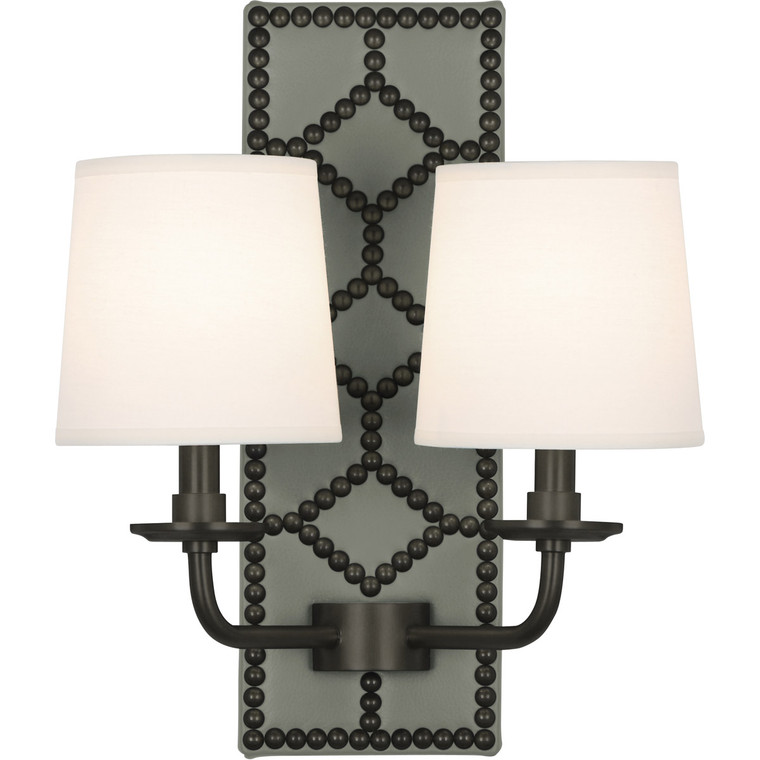 Robert Abbey Williamsburg Lightfoot Wall Sconce in Backplate Upholstered in Carter Gray Leather with Nailhead Detail and Deep Patina Bronze Accents Z1034