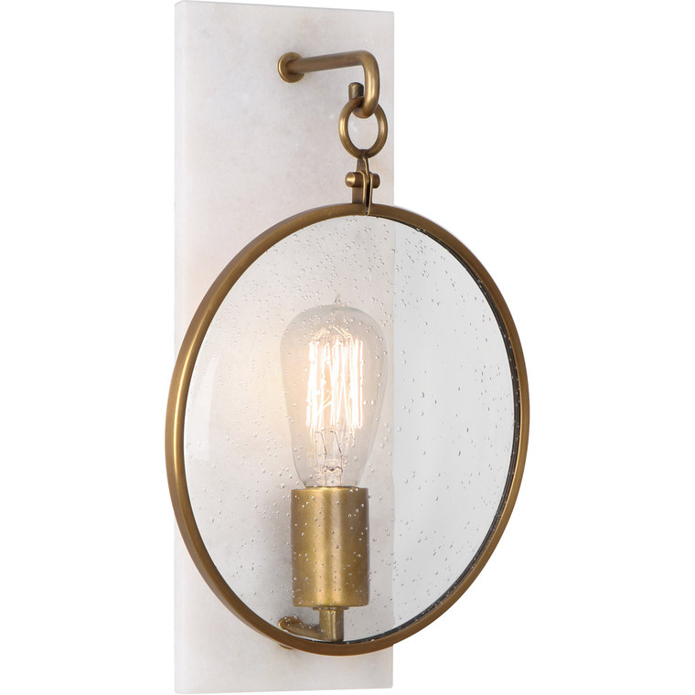 Robert Abbey Fineas Wall Sconce in Aged Brass Finish with Alabaster Stone Accents 1518