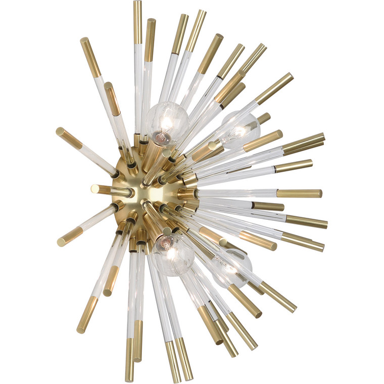Robert Abbey Andromeda Wall Sconce in Modern Brass Finish with Clear Acrylic Rods 167