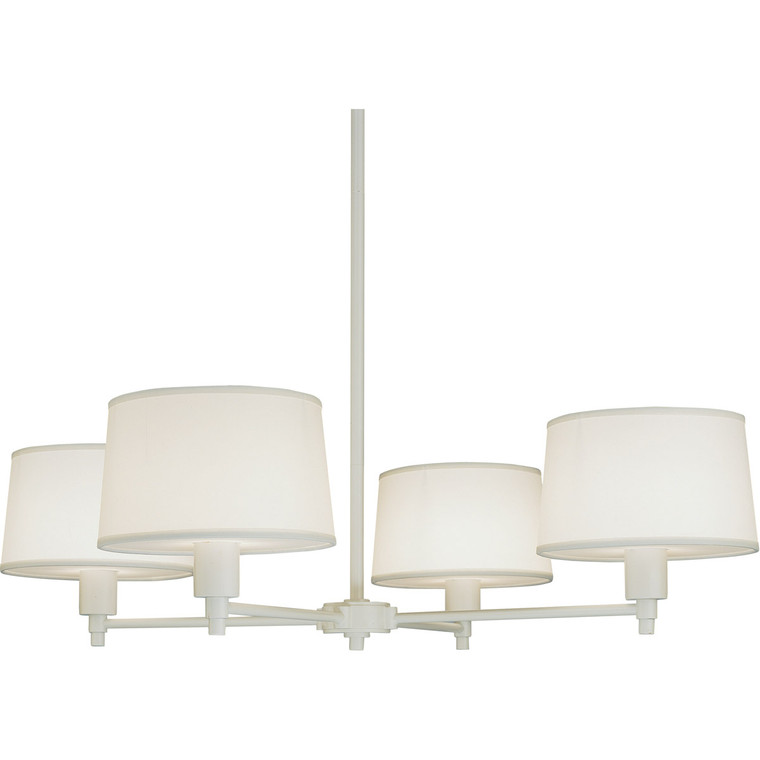 Robert Abbey Real Simple Chandelier in Stardust White Powder Coat Finish over Steel 1807