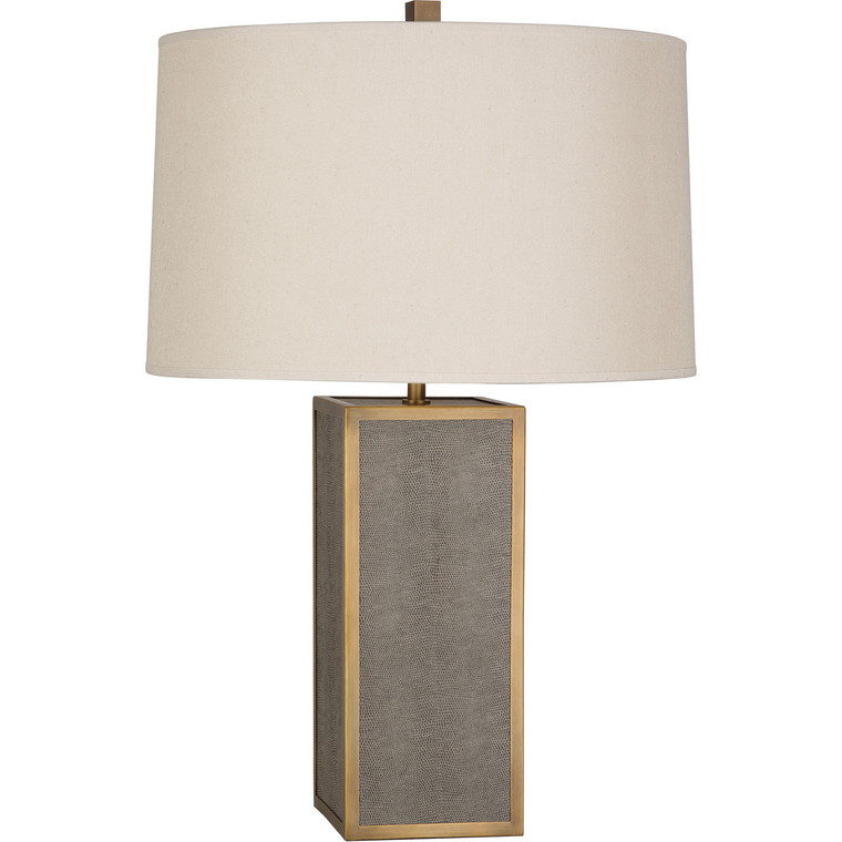 Robert Abbey Anna Table Lamp in Faux Brown Snakeskin Wrapped Base with Aged Brass Accents 898