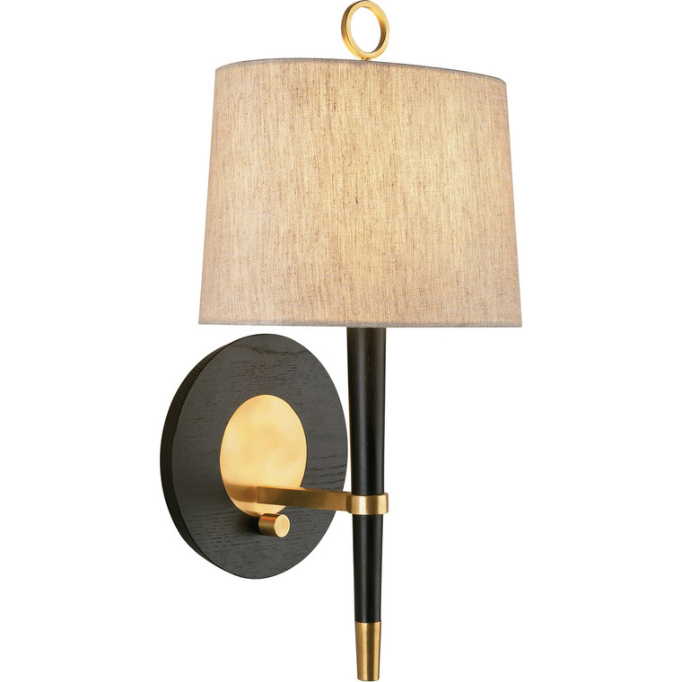 Robert Abbey Jonathan Adler Ventana Wall Sconce in Ebony Finished Wood with Antique Brass Finished Accents 672