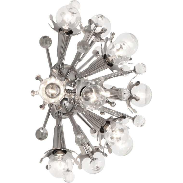 Robert Abbey Jonathan Adler Sputnik Wall Sconce in Polished Nickel Finish with Clear Crystal Accents S715