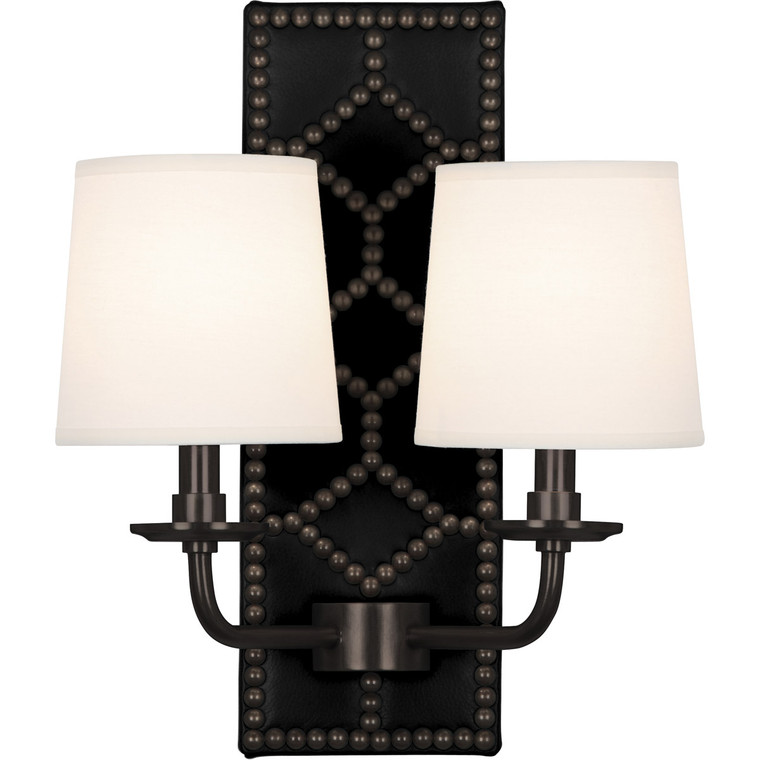 Robert Abbey Williamsburg Lightfoot Wall Sconce in Backplate Upholstered in Blacksmith Black Leather with Nailhead Detail and Deep Patina Bronze Accents Z1035