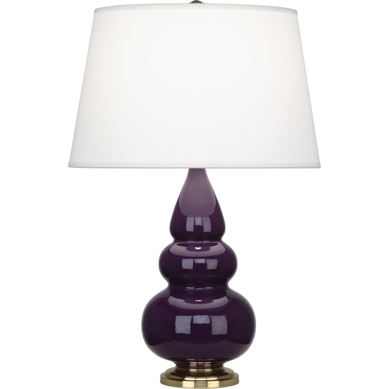 Robert Abbey Amethyst Small Triple Gourd Accent Lamp in Amethyst Glazed Ceramic with Antique Natural Brass Finished Accents 378X
