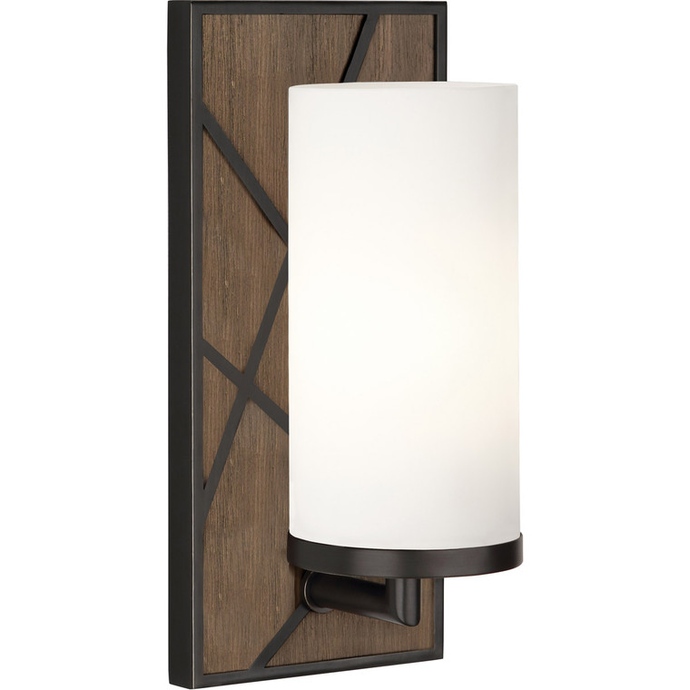 Robert Abbey Michael Berman Bond Wall Sconce in Smoked Walnut Wood Finish with Deep Patina Bronze Accents 543W