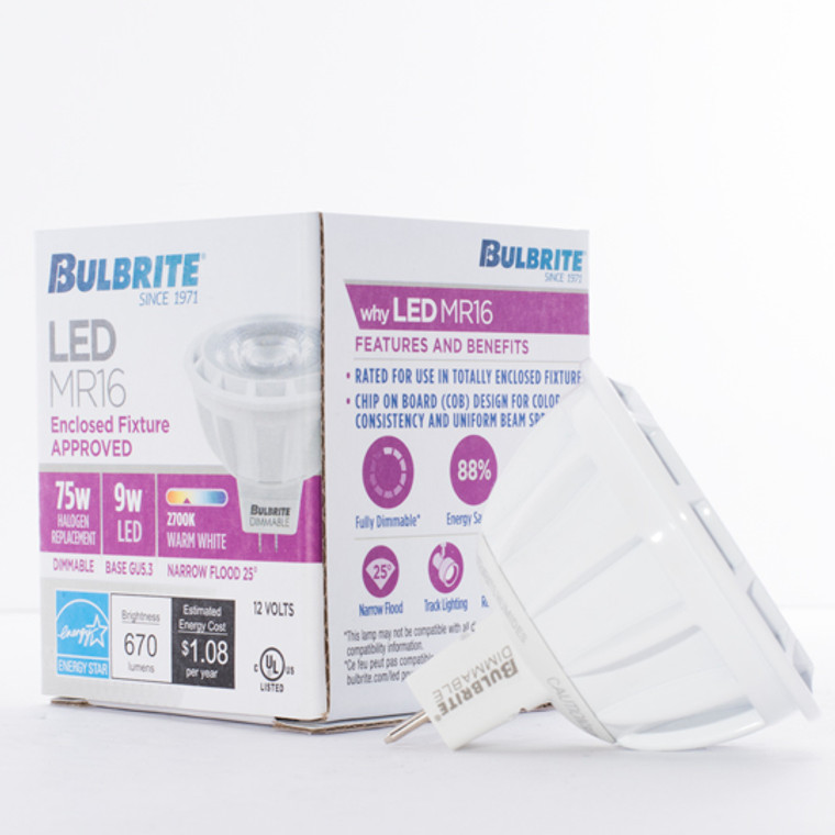 Bulbrite: 771322 LED MRs Dimmable & Enclosed Rated: MR16 (12V) - 75W Equiv. Watts: 9 - LED9MR16NF25/75/827/D (10 Pack)