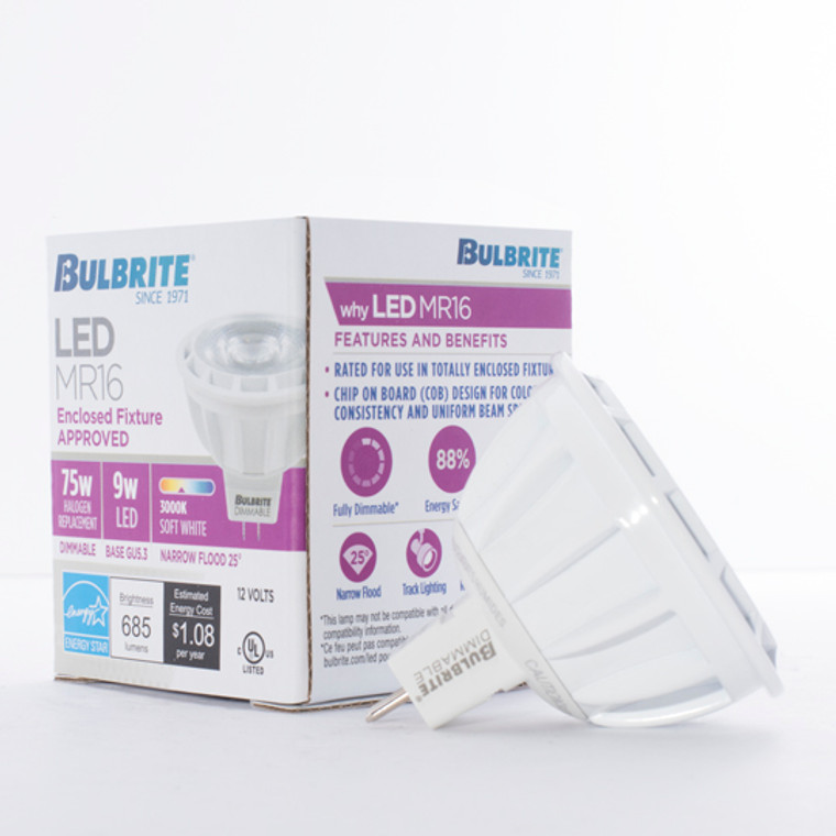 Bulbrite: 771326 LED MRs Dimmable & Enclosed Rated: MR16 (12V) - 75W Equiv. Watts: 9 - LED9MR16NF25/75/830/D (10 Pack)