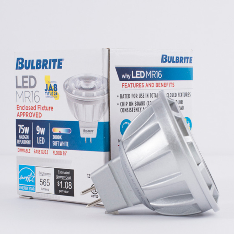 Bulbrite: 771351 LED MRs Dimmable & Enclosed Rated: MR16 (12V) - 75W Equiv. Watts: 9 - LED9MR16FL35/75/930/J/D (10 Pack)