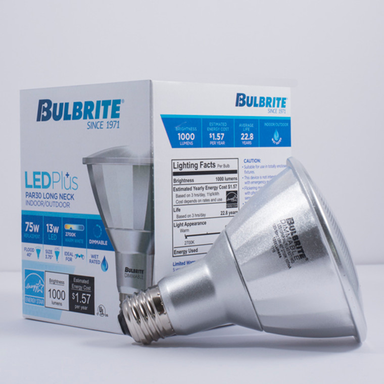 Bulbrite: 772731 LED PARs Dimmable & Wet Rated: PAR30SN, PAR30LN Watts: 13 - LED13PAR30L/FL40/827/WD (12 Pack)