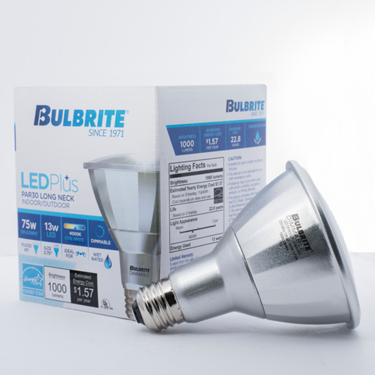 Bulbrite: 772737 LED PARs Dimmable & Wet Rated: PAR30SN, PAR30LN Watts: 13 - LED13PAR30L/FL40/840/WD (12 Pack)
