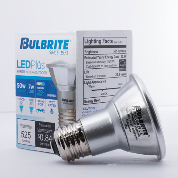 Bulbrite: 772718 LED PARs Dimmable & Wet Rated: PAR20 Watts: 7 - LED7PAR20/FL40/840/WD (12 Pack)